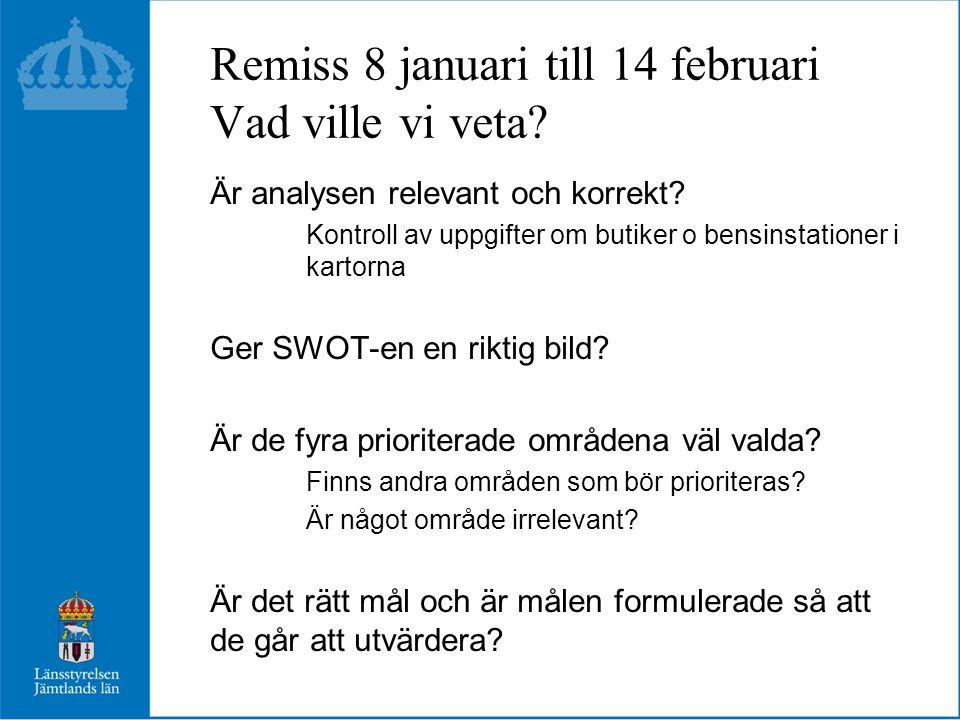 Remiss 8 januari till 14 februari Vad ville vi veta.