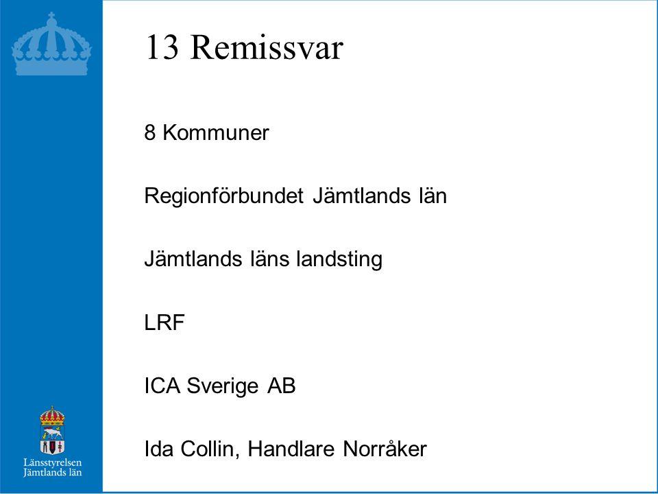 13 Remissvar 8 Kommuner Regionförbundet Jämtlands län Jämtlands läns landsting LRF ICA Sverige AB Ida Collin, Handlare Norråker