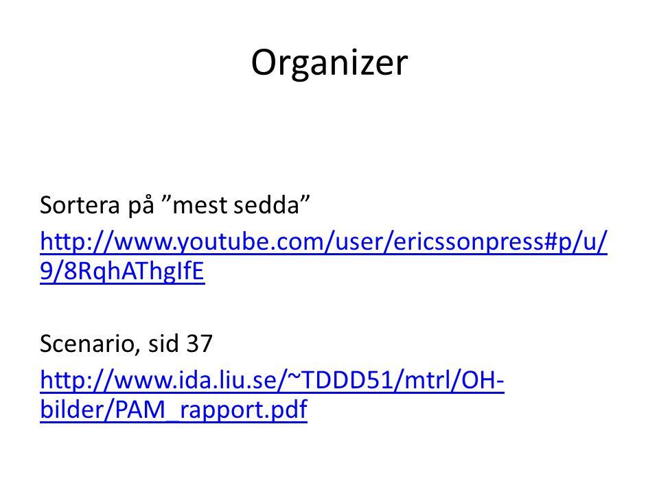 Organizer Sortera på mest sedda http://www.youtube.com/user/ericssonpress#p/u/ 9/8RqhAThgIfE Scenario, sid 37 http://www.ida.liu.se/~TDDD51/mtrl/OH- bilder/PAM_rapport.pdf