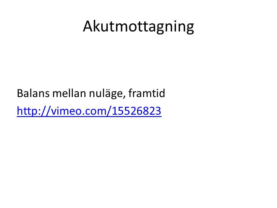 Akutmottagning Balans mellan nuläge, framtid http://vimeo.com/15526823