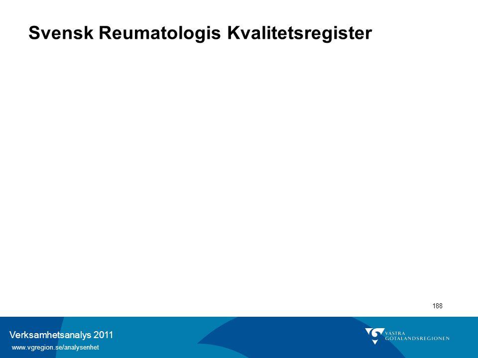Verksamhetsanalys 2011 www.vgregion.se/analysenhet 188 Svensk Reumatologis Kvalitetsregister
