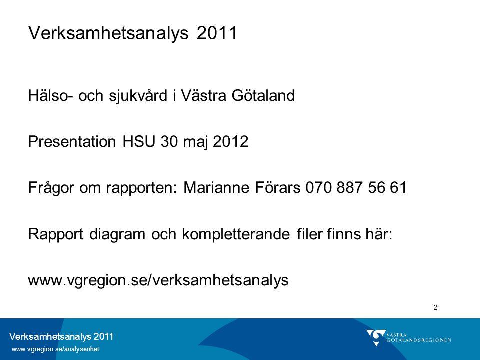 Verksamhetsanalys 2011 www.vgregion.se/analysenhet 2 Verksamhetsanalys 2011 Hälso- och sjukvård i Västra Götaland Presentation HSU 30 maj 2012 Frågor