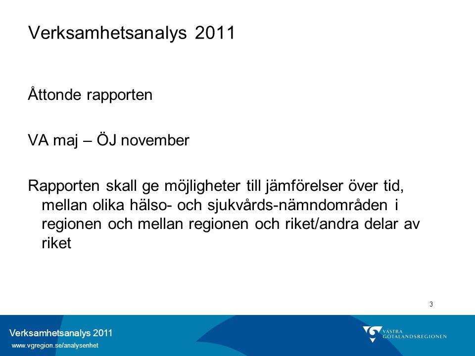 Verksamhetsanalys 2011 www.vgregion.se/analysenhet 3 Verksamhetsanalys 2011 Åttonde rapporten VA maj – ÖJ november Rapporten skall ge möjligheter till