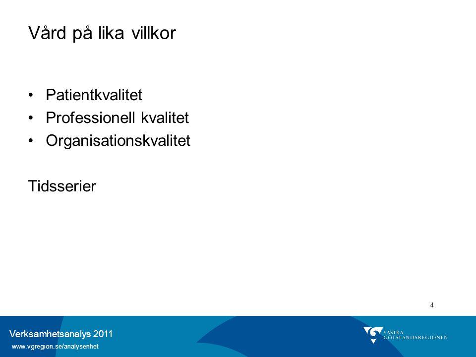 Verksamhetsanalys 2011 www.vgregion.se/analysenhet 4 Vård på lika villkor Patientkvalitet Professionell kvalitet Organisationskvalitet Tidsserier