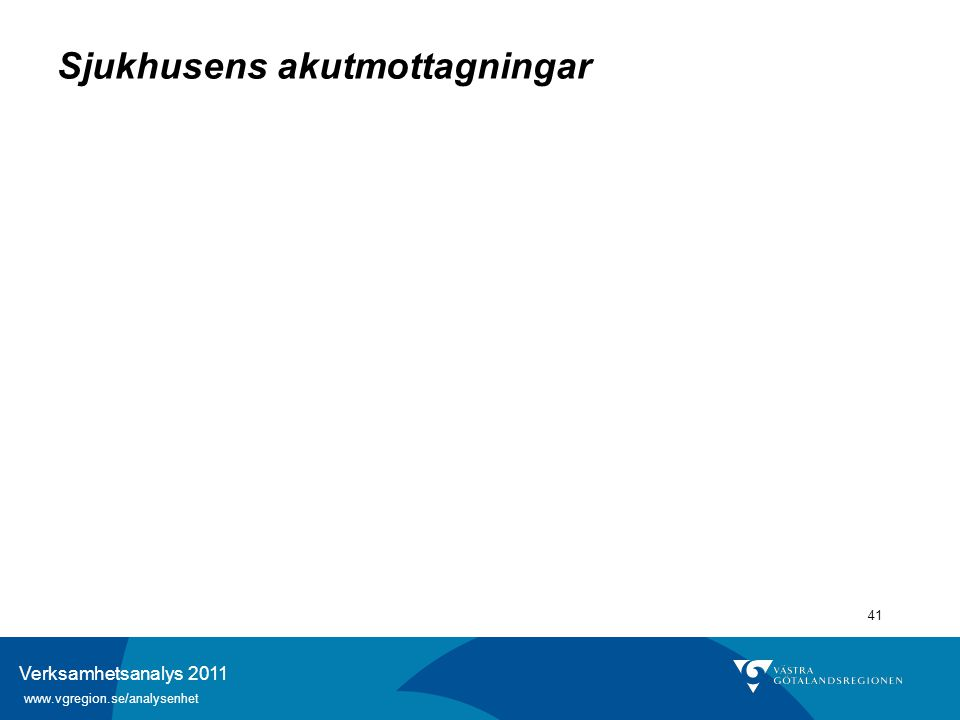 Verksamhetsanalys 2011 www.vgregion.se/analysenhet 41 Sjukhusens akutmottagningar