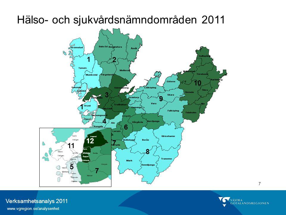 Verksamhetsanalys 2011 www.vgregion.se/analysenhet 7 1 1 12 11 4 2 5 3 10 7 6 9 8 7 Angered Partille Härryda Mölndal Norra Hisingen Västra Hisingen As