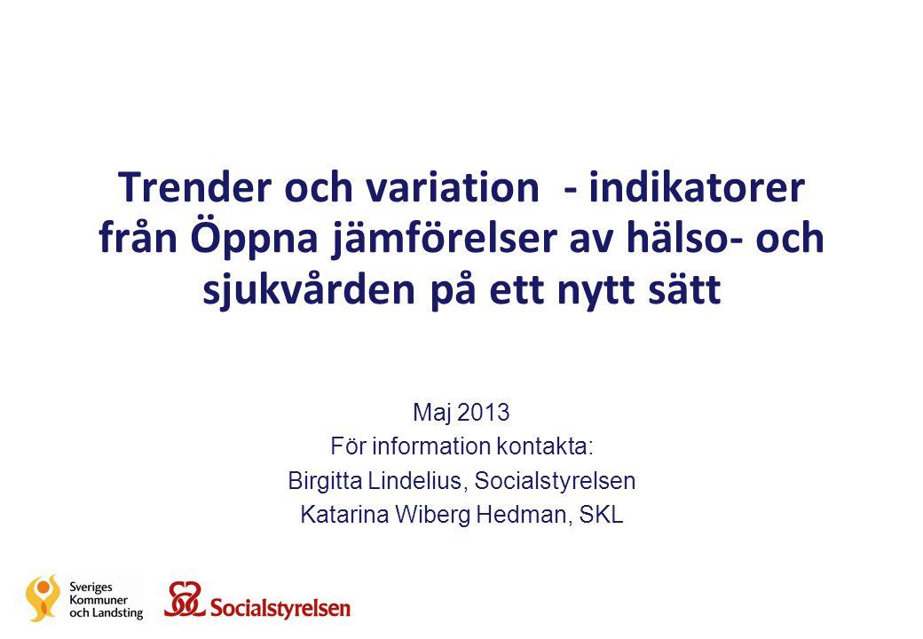 Trender och variation - indikatorer från Öppna jämförelser av hälso- och sjukvården på ett nytt sätt Maj 2013 För information kontakta: Birgitta Linde