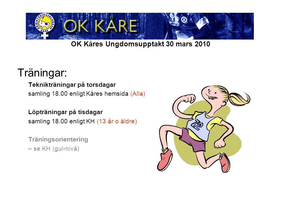 OK Kåres Ungdomsupptakt 30 mars 2010 Träningar: Teknikträningar på torsdagar samling 18.00 enligt Kåres hemsida (Alla) Löpträningar på tisdagar samling 18.00 enligt KH (13 år o äldre) Träningsorientering – se KH (gul-nivå)