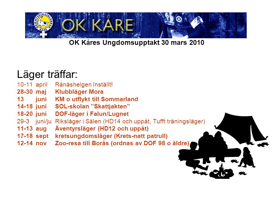 OK Kåres Ungdomsupptakt 30 mars 2010 Läger träffar: 10-11aprilRånäshelgen Inställt.