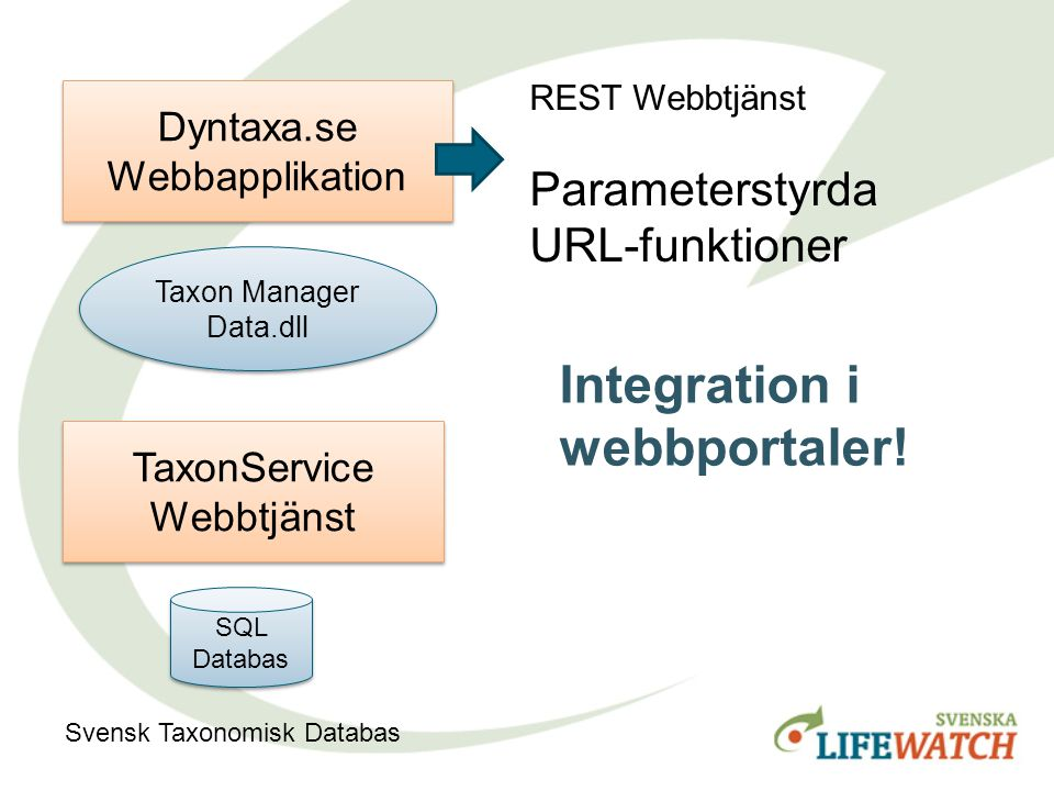Taxon Manager Data.dll Taxon Manager Data.dll Dyntaxa.se Webbapplikation TaxonService Webbtjänst SQL Databas Svensk Taxonomisk Databas REST Webbtjänst Parameterstyrda URL-funktioner Integration i webbportaler!