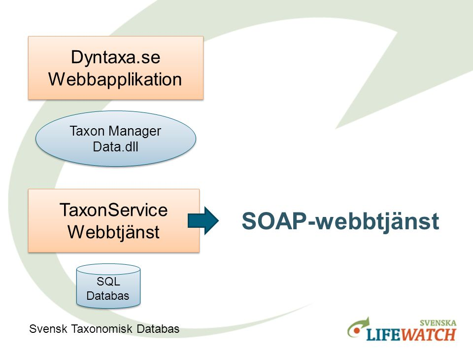 Taxon Manager Data.dll Taxon Manager Data.dll Dyntaxa.se Webbapplikation TaxonService Webbtjänst SQL Databas Svensk Taxonomisk Databas Nedladdningsbar.Net-kod SOAP-webbtjänst