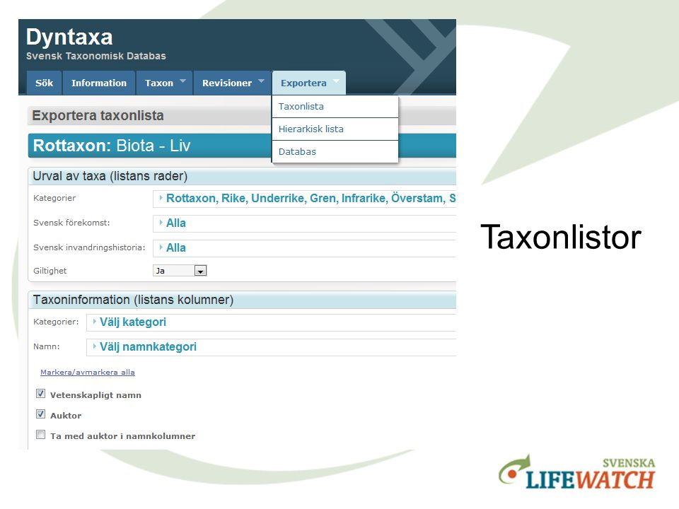 Taxonlistor