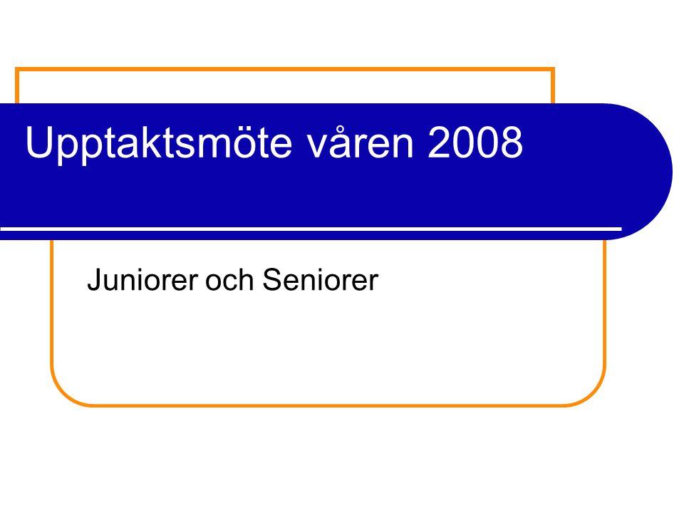 Upptaktsmöte våren 2008 Juniorer och Seniorer