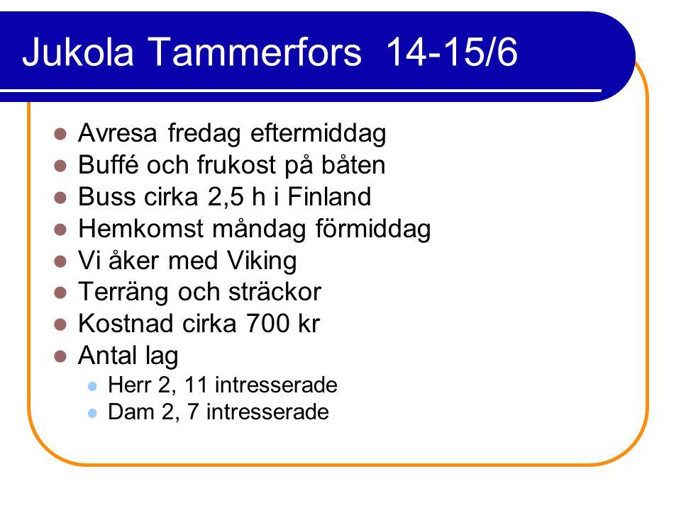 Jukola Tammerfors 14-15/6 Avresa fredag eftermiddag Buffé och frukost på båten Buss cirka 2,5 h i Finland Hemkomst måndag förmiddag Vi åker med Viking Terräng och sträckor Kostnad cirka 700 kr Antal lag Herr 2, 11 intresserade Dam 2, 7 intresserade