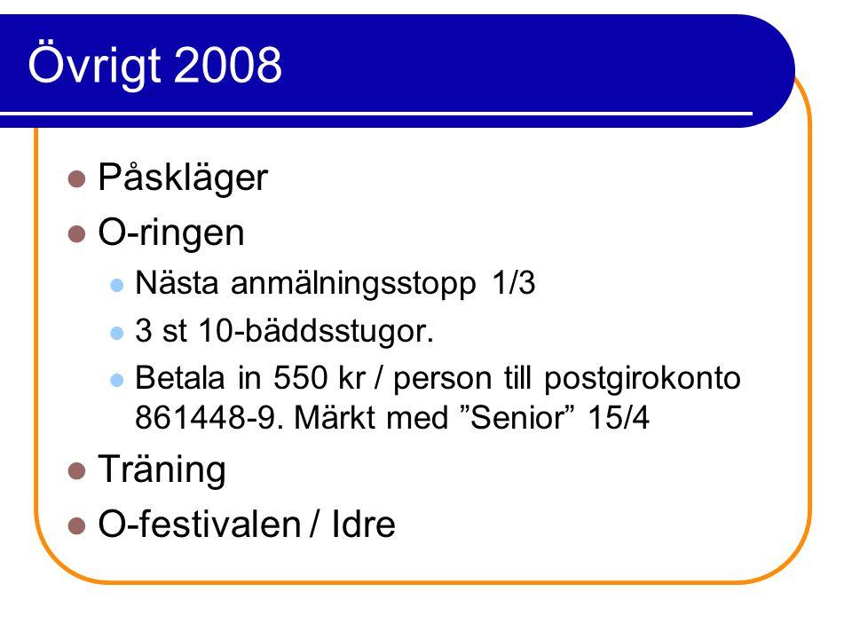 Övrigt 2008 Påskläger O-ringen Nästa anmälningsstopp 1/3 3 st 10-bäddsstugor.