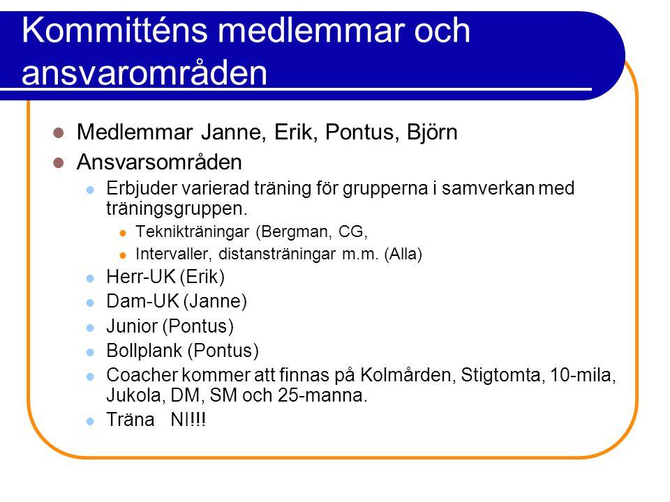 Kommitténs medlemmar och ansvarområden Medlemmar Janne, Erik, Pontus, Björn Ansvarsområden Erbjuder varierad träning för grupperna i samverkan med träningsgruppen.