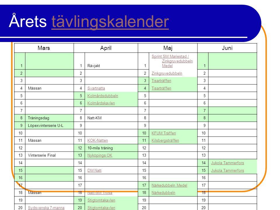 Årets tävlingskalendertävlingskalender MarsAprilMajJuni 1 1Rävjakt1 Sprint SM Mariestad / Zinkgruvedubbeln Medel1 2 2 2Zinkgruvedubbeln2 3 3 3Tisarträffen3 4Mässan4Svartnatta4Tisarträffen4 5 5Kolmårdsdubbeln5 5 6 6Kolmårdskavlen6 6 7 7 7 7 8Träningsdag8Natt-KM8 8 9Löpexvinterserie U-L9 9 9 10 KFUM Träffen10 11Mässan11KOK-Natten11Kilsbergsträffen11 12 10-mila träning12 13Vinterserie Final13Nyköpings OK13 14 Jukola Tammerfors 15 DM Natt15 Jukola Tammerfors 16 17 Närkedubbeln Medel17 18Mässan18Natt-SM Trosa18Närkedubbeln18 19 Stigtomtakavlen19 20Sydsvenska 7-manna20Stigtomtakavlen20 21Sydsvenska 7-manna2110-mila genomgång21 22 Ronneby OK Medel & Elittävling22 23Ronneby OK Medel23 24Ronneby OK Elittävling24Formtoppningsintervaller24DM Sprint24 25 26 10-mila26 27Intervaller2710-mila27 28 29Arosträffen medel29 30Måsenstafetten30 31