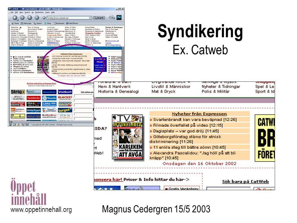 Magnus Cedergren 15/5 2003 www.oppetinnehall.org Undersökning - utgångspunkter Aktörens motivation –Baserad på Feller-Fitzgerald (2002): Motivation Open Source Värdet i levererat innehåll –Baserat på Barlow (1994): Informationens ekonomi