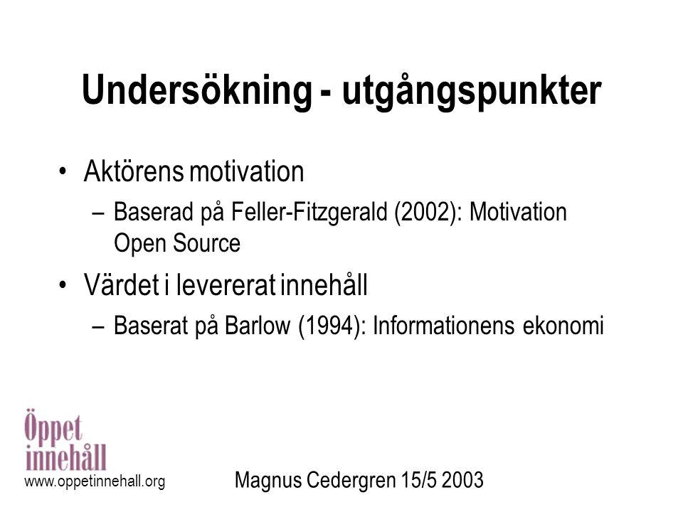 Magnus Cedergren 15/5 2003 www.oppetinnehall.org Undersökning - utgångspunkter Aktörens motivation –Baserad på Feller-Fitzgerald (2002): Motivation Op