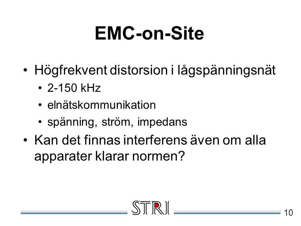 10 EMC-on-Site Högfrekvent distorsion i lågspänningsnät 2-150 kHz elnätskommunikation spänning, ström, impedans Kan det finnas interferens även om alla apparater klarar normen?