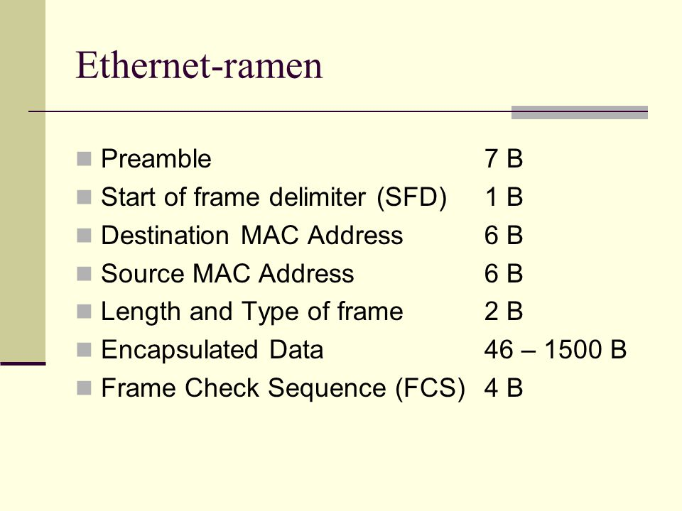 Ethernet-ramen Preamble7 B Start of frame delimiter (SFD)1 B Destination MAC Address6 B Source MAC Address6 B Length and Type of frame2 B Encapsulated