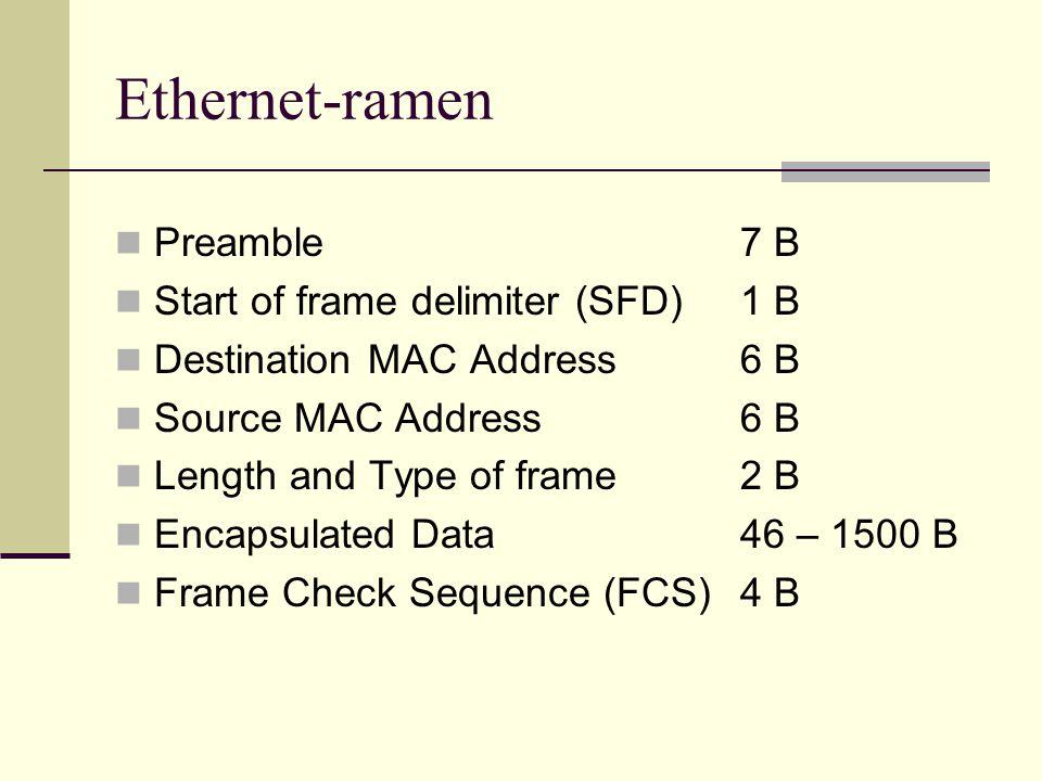 Ethernet-nätens uppbyggnad Ethernet passar inte för mycket stora nät Näten är hierarkiskt uppbyggda Den hierarkiska uppbyggnaden har tre lager Access-lagret Anslutningpunkter för datorer Distributions-lagret Anslutningar mellan mindre nätverk Core-lagret Snabb förbindelse mellan distributionslagrets enheter