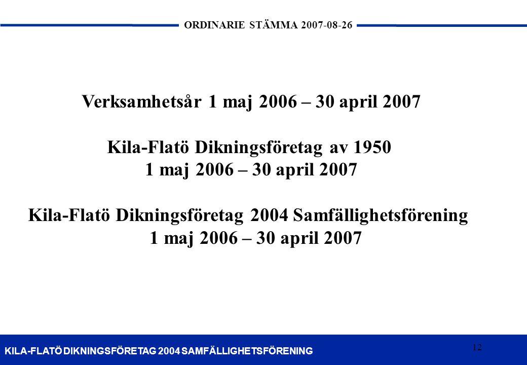 12 KILA-FLATÖ DIKNINGSFÖRETAG 2004 SAMFÄLLIGHETSFÖRENING ORDINARIE STÄMMA 2007-08-26 12 Verksamhetsår 1 maj 2006 – 30 april 2007 Kila-Flatö Dikningsfö