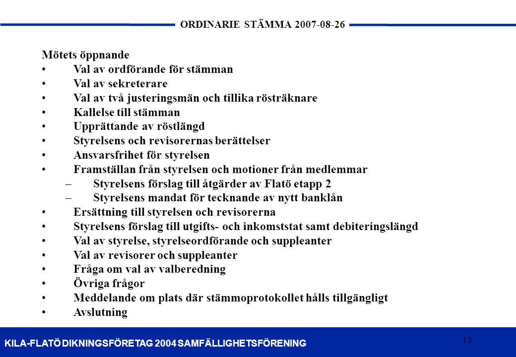 13 KILA-FLATÖ DIKNINGSFÖRETAG 2004 SAMFÄLLIGHETSFÖRENING ORDINARIE STÄMMA 2007-08-26 13 Mötets öppnande Val av ordförande för stämman Val av sekretera