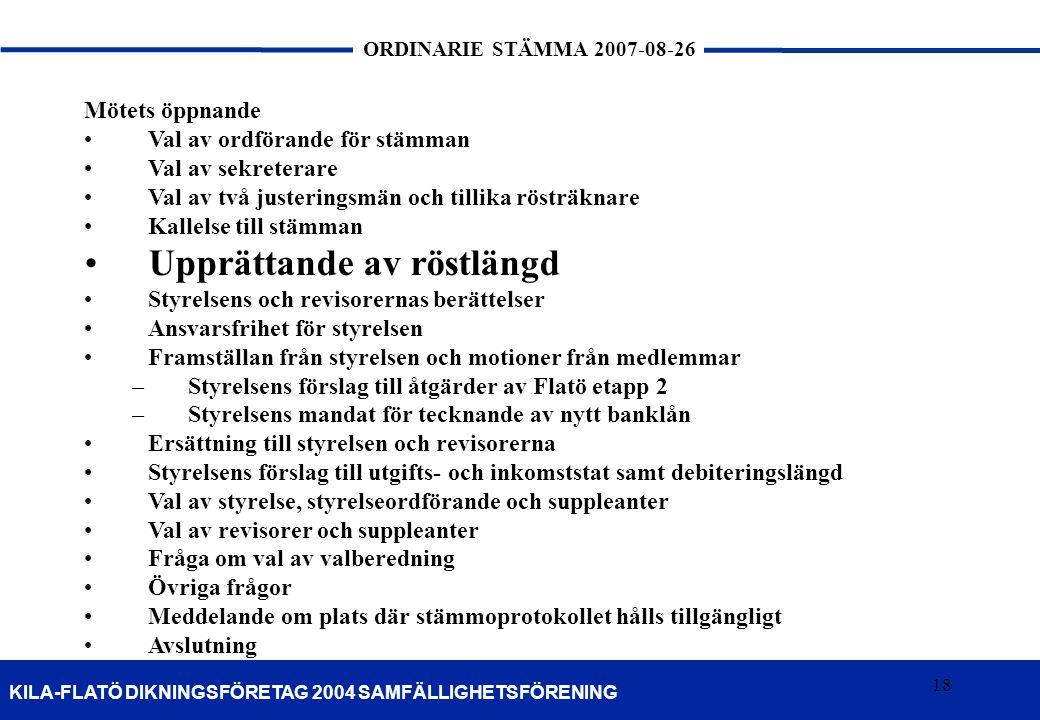 18 KILA-FLATÖ DIKNINGSFÖRETAG 2004 SAMFÄLLIGHETSFÖRENING ORDINARIE STÄMMA 2007-08-26 18 Mötets öppnande Val av ordförande för stämman Val av sekretera