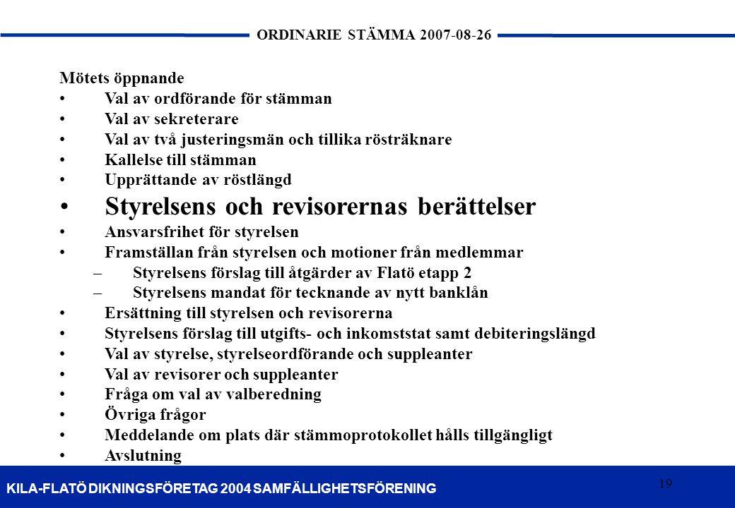 19 KILA-FLATÖ DIKNINGSFÖRETAG 2004 SAMFÄLLIGHETSFÖRENING ORDINARIE STÄMMA 2007-08-26 19 Mötets öppnande Val av ordförande för stämman Val av sekretera
