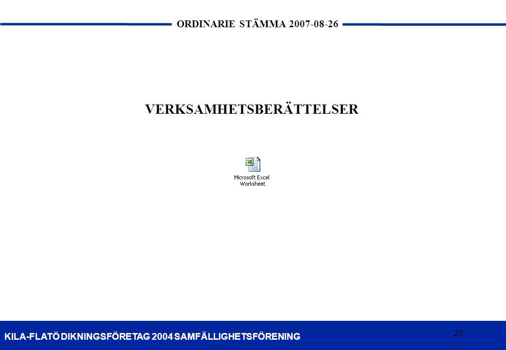 20 KILA-FLATÖ DIKNINGSFÖRETAG 2004 SAMFÄLLIGHETSFÖRENING ORDINARIE STÄMMA 2007-08-26 20 VERKSAMHETSBERÄTTELSER
