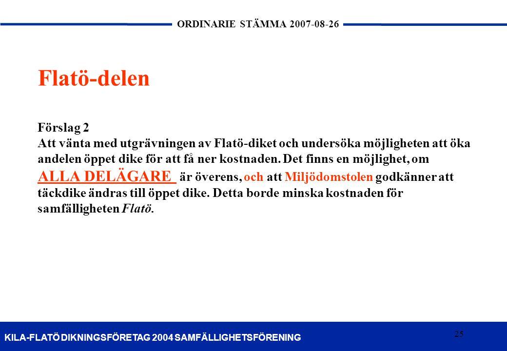 25 KILA-FLATÖ DIKNINGSFÖRETAG 2004 SAMFÄLLIGHETSFÖRENING ORDINARIE STÄMMA 2007-08-26 25 Flatö-delen Förslag 2 Att vänta med utgrävningen av Flatö-dike