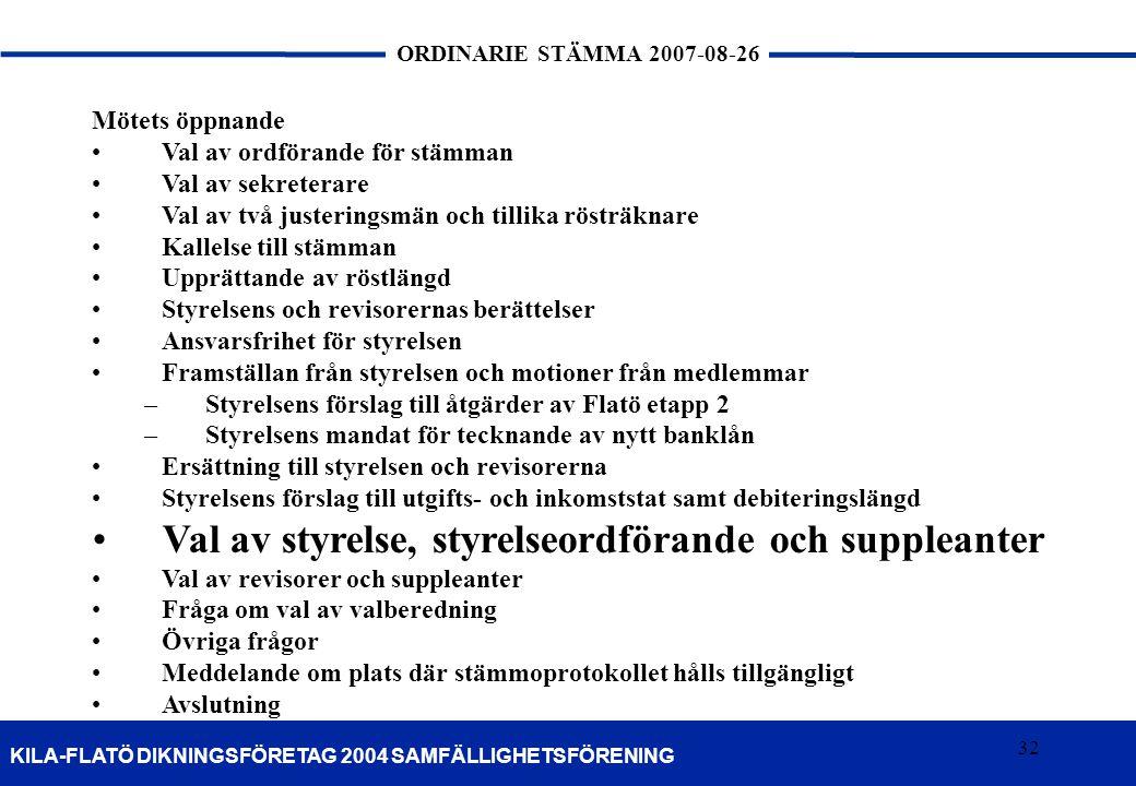 32 KILA-FLATÖ DIKNINGSFÖRETAG 2004 SAMFÄLLIGHETSFÖRENING ORDINARIE STÄMMA 2007-08-26 32 Mötets öppnande Val av ordförande för stämman Val av sekretera