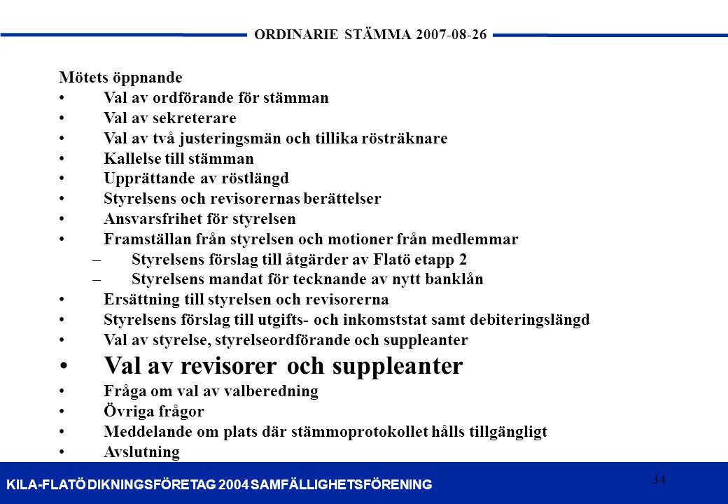 34 KILA-FLATÖ DIKNINGSFÖRETAG 2004 SAMFÄLLIGHETSFÖRENING ORDINARIE STÄMMA 2007-08-26 34 Mötets öppnande Val av ordförande för stämman Val av sekretera