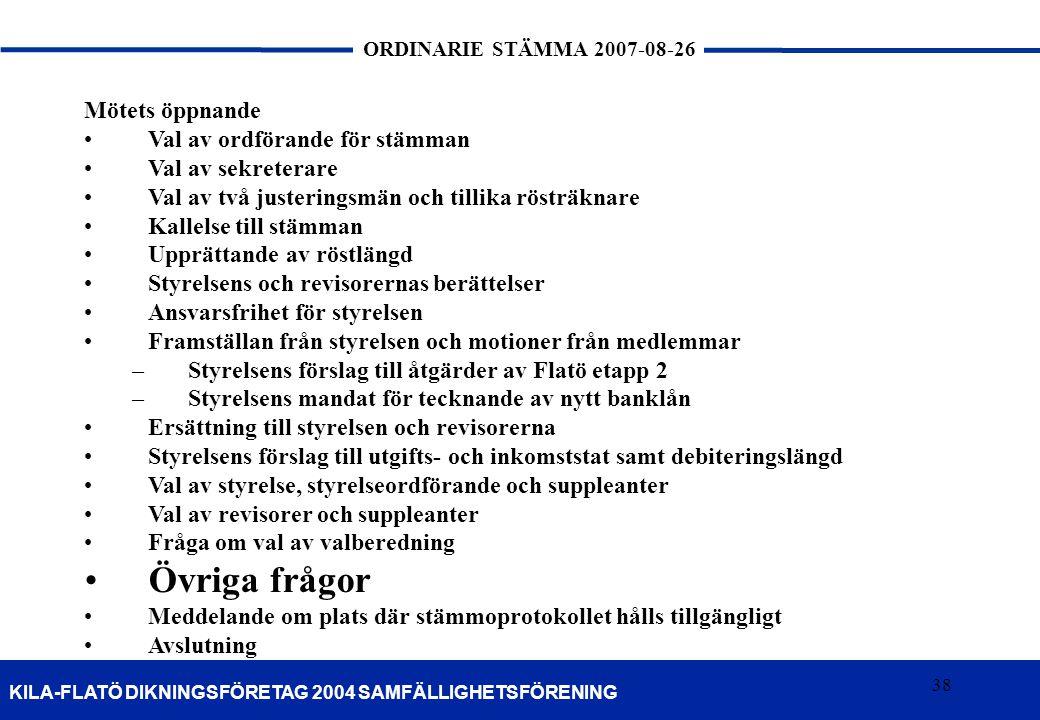 38 KILA-FLATÖ DIKNINGSFÖRETAG 2004 SAMFÄLLIGHETSFÖRENING ORDINARIE STÄMMA 2007-08-26 38 Mötets öppnande Val av ordförande för stämman Val av sekretera