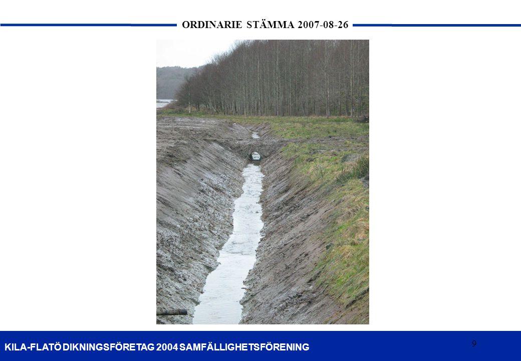 10 KILA-FLATÖ DIKNINGSFÖRETAG 2004 SAMFÄLLIGHETSFÖRENING ORDINARIE STÄMMA 2007-08-26 10