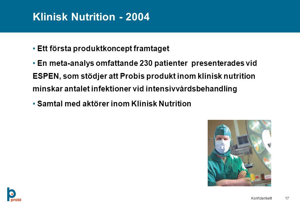 17Konfidentiellt Klinisk Nutrition - 2004 Ett första produktkoncept framtaget En meta-analys omfattande 230 patienter presenterades vid ESPEN, som stödjer att Probis produkt inom klinisk nutrition minskar antalet infektioner vid intensivvårdsbehandling Samtal med aktörer inom Klinisk Nutrition