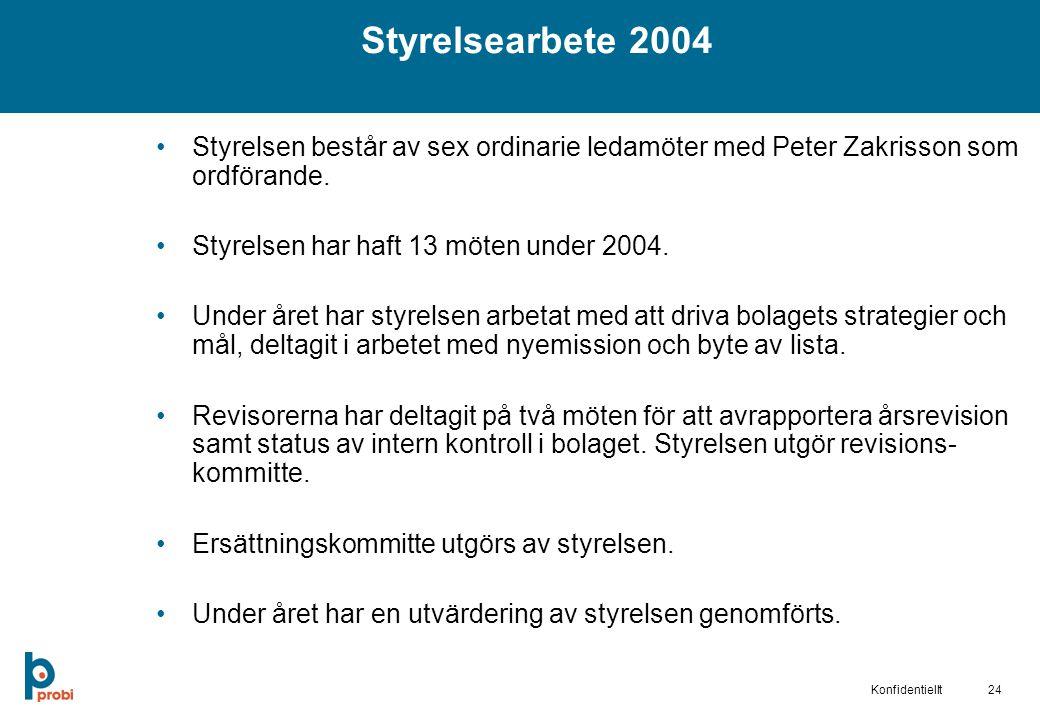 24Konfidentiellt Styrelsen består av sex ordinarie ledamöter med Peter Zakrisson som ordförande.