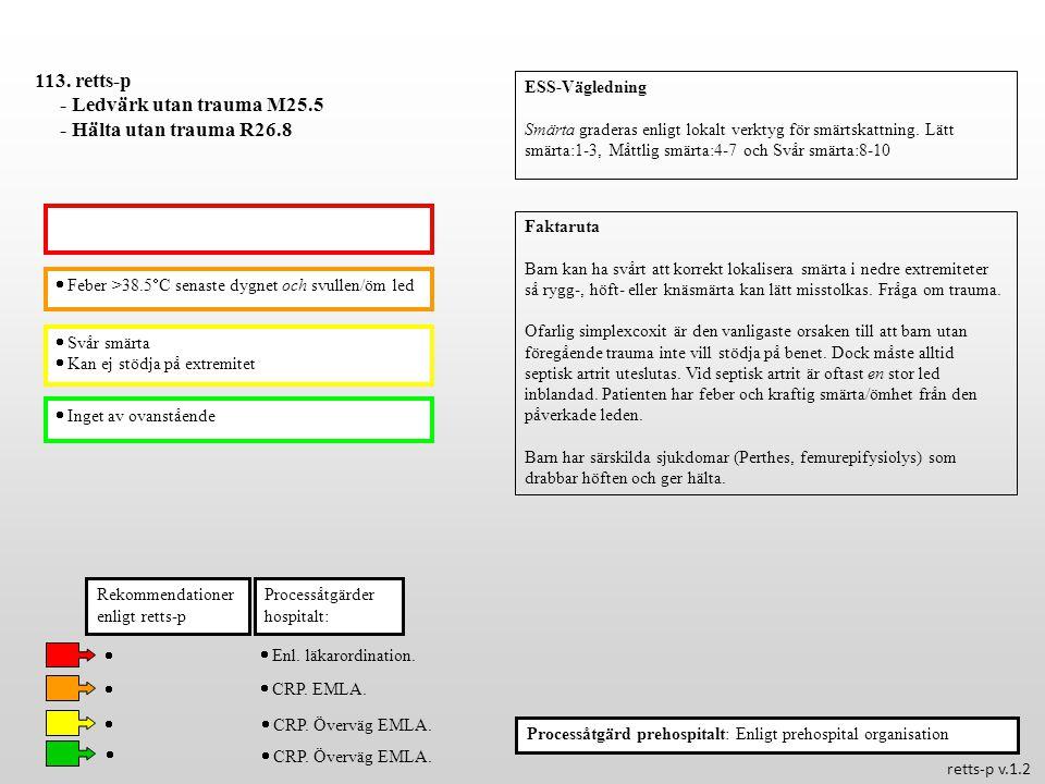  Feber >38.5  C senaste dygnet och svullen/öm led  Svår smärta  Kan ej stödja på extremitet Processåtgärder hospitalt: 113. retts-p - Ledvärk utan