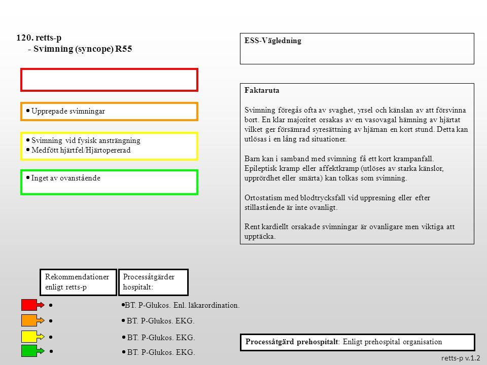  Upprepade svimningar  Svimning vid fysisk ansträngning  Medfött hjärtfel/Hjärtopererad  Inget av ovanstående Processåtgärder hospitalt: 120. rett