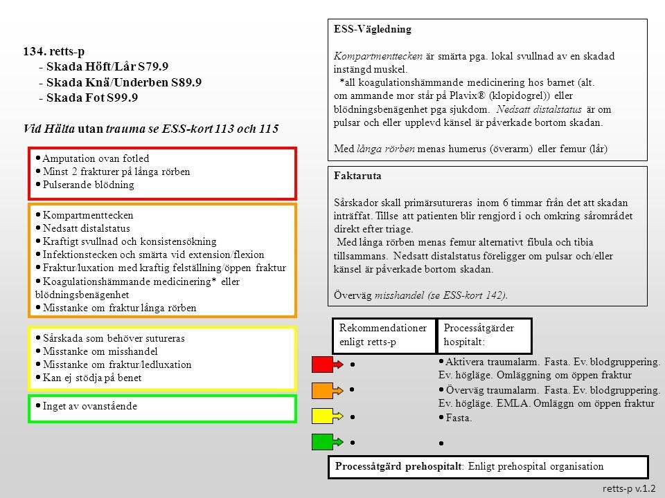  Kompartmenttecken  Nedsatt distalstatus  Kraftigt svullnad och konsistensökning  Infektionstecken och smärta vid extension/flexion  Fraktur/luxa