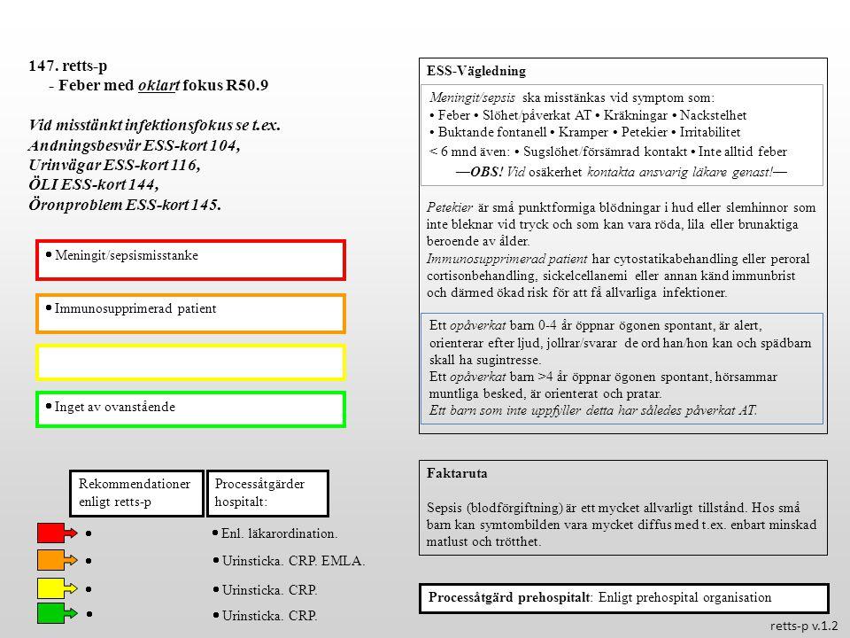  Immunosupprimerad patient  Inget av ovanstående Processåtgärder hospitalt: 147. retts-p - Feber med oklart fokus R50.9 Vid misstänkt infektionsfoku