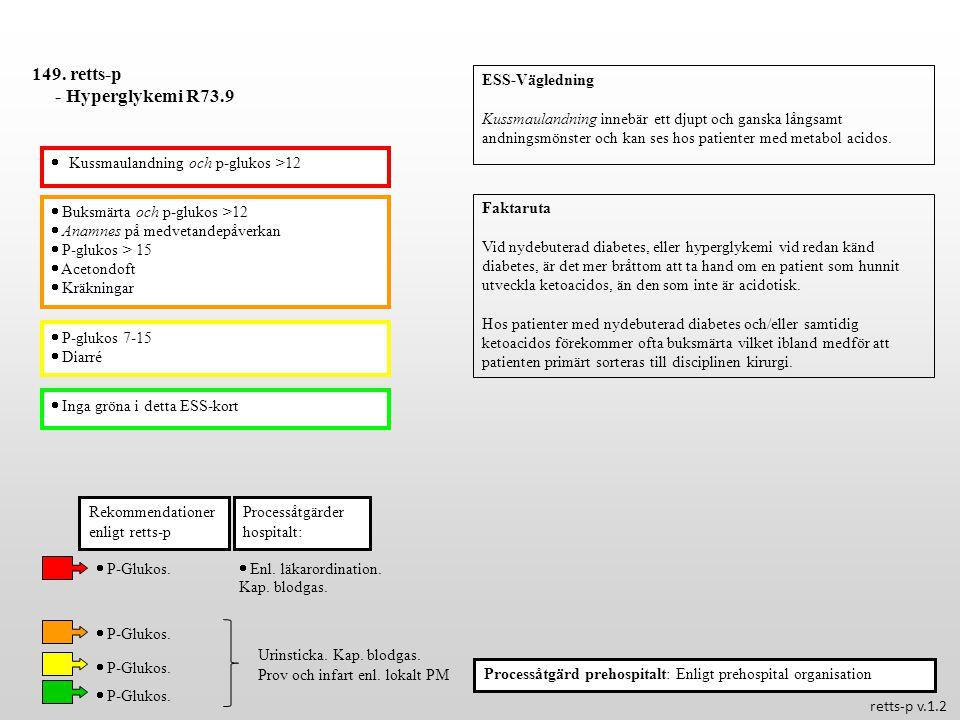  Buksmärta och p-glukos >12  Anamnes på medvetandepåverkan  P-glukos > 15  Acetondoft  Kräkningar  P-glukos 7-15  Diarré  Inga gröna i detta E