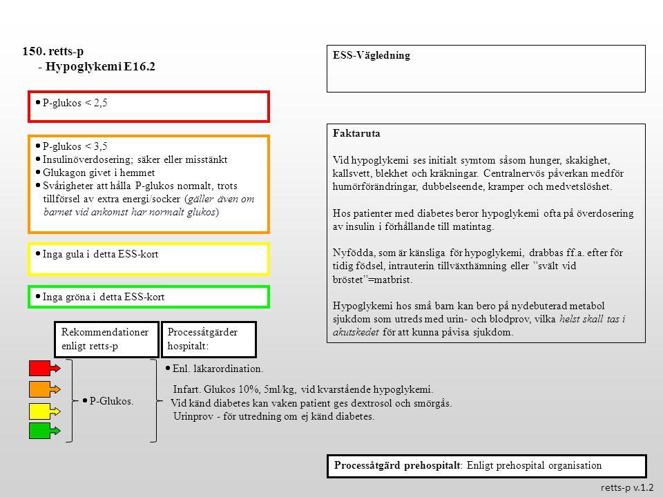  P-glukos < 3,5  Insulinöverdosering; säker eller misstänkt  Glukagon givet i hemmet  Svårigheter att hålla P-glukos normalt, trots tillförsel av extra energi/socker (gäller även om barnet vid ankomst har normalt glukos)  Inga gula i detta ESS-kort  Inga gröna i detta ESS-kort Processåtgärder hospitalt: 150.