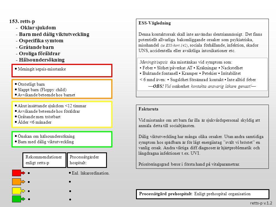  Otröstligt barn  Slappt barn (Floppy child)  Avvikande beteende hos barnet  Akut insättande sjukdom <12 timmar  Avvikande beteende hos föräldrar  Gråtande men tröstbart  Ålder <6 månader  Önskan om hälsoundersökning  Barn med dålig viktutveckling Processåtgärder hospitalt: 153.