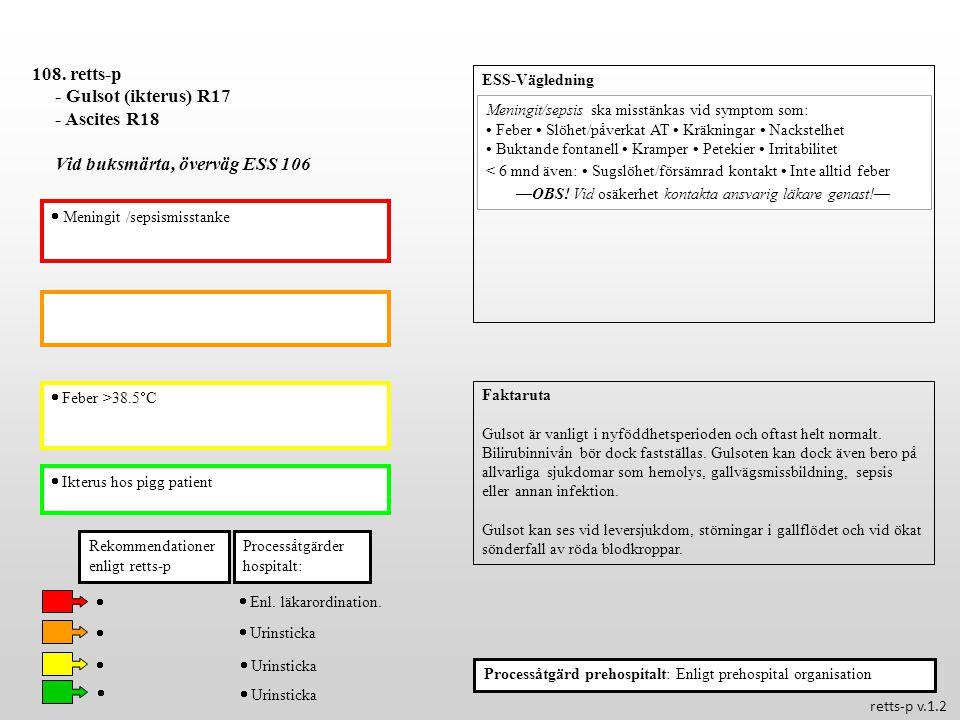  Feber >38.5  C  Ikterus hos pigg patient Processåtgärder hospitalt: 108. retts-p - Gulsot (ikterus) R17 - Ascites R18 Vid buksmärta, överväg ESS 1