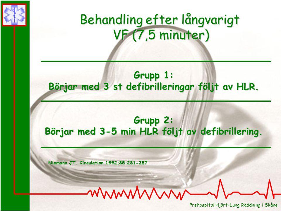 Grupp 1: Börjar med 3 st defibrilleringar följt av HLR. Grupp 2: Börjar med 3-5 min HLR följt av defibrillering. Behandling efter långvarigt VF (7,5 m