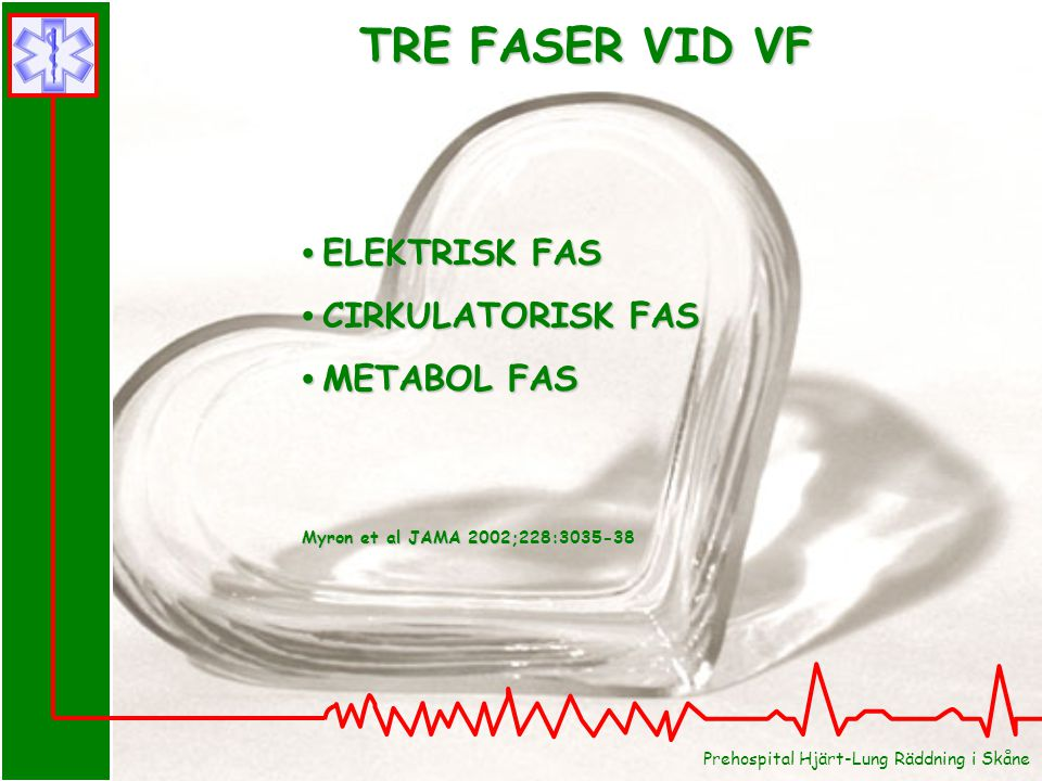 Prehospital Hjärt-Lung Räddning i Skåne ELEKTRISK FAS ELEKTRISK FAS CIRKULATORISK FAS CIRKULATORISK FAS METABOL FAS METABOL FAS Myron et al JAMA 2002;
