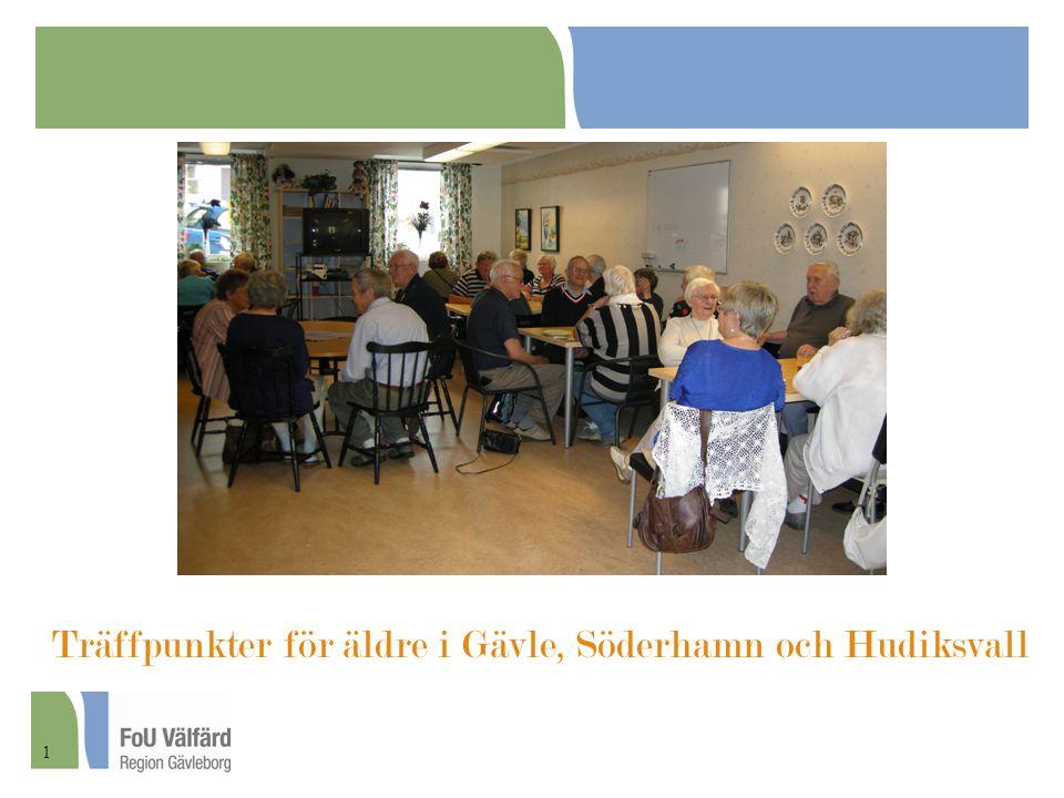 Beskriva och analysera uppbyggnad, drift och effekt av träffpunkter för äldre i kommunerna Hudiksvall, Söderhamn och Gävle Studiens övergripande syfte 2