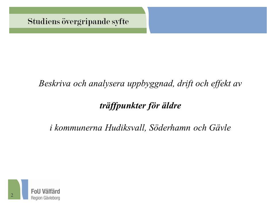 Beskriva och analysera uppbyggnad, drift och effekt av träffpunkter för äldre i kommunerna Hudiksvall, Söderhamn och Gävle Studiens övergripande syfte